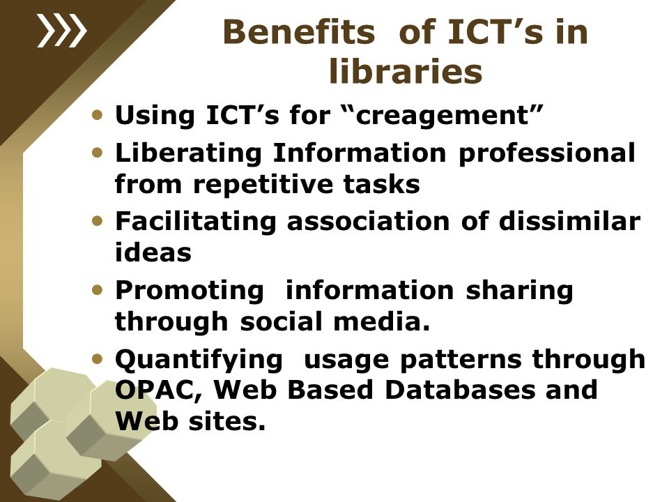 Benefits of ICT's in libraries