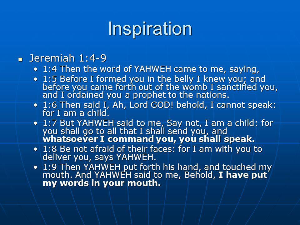 Inspiration Jeremiah 1:4-9