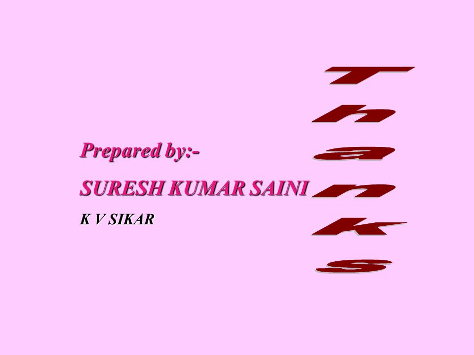 Thanks Prepared by:- SURESH KUMAR SAINI K V SIKAR