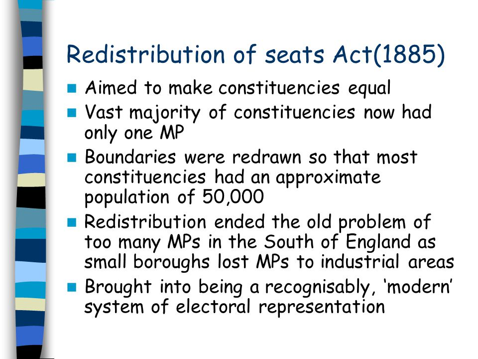 Redistribution of seats Act(1885)