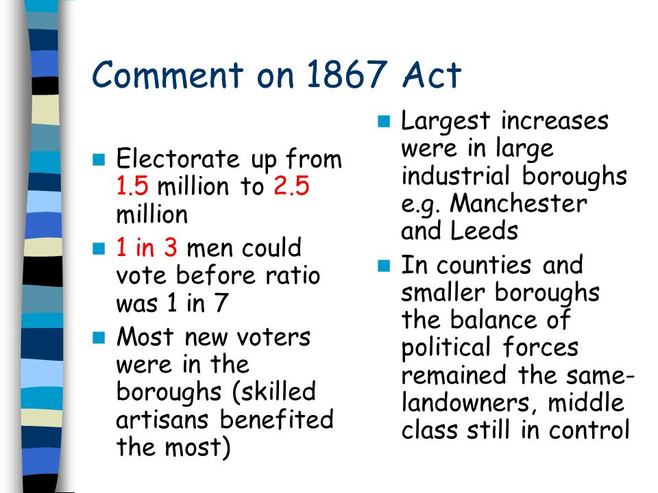 Comment on 1867 Act Largest increases were in large industrial boroughs e.g. Manchester and Leeds.