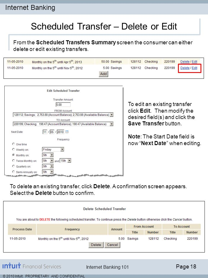 Scheduled Transfer – Delete or Edit