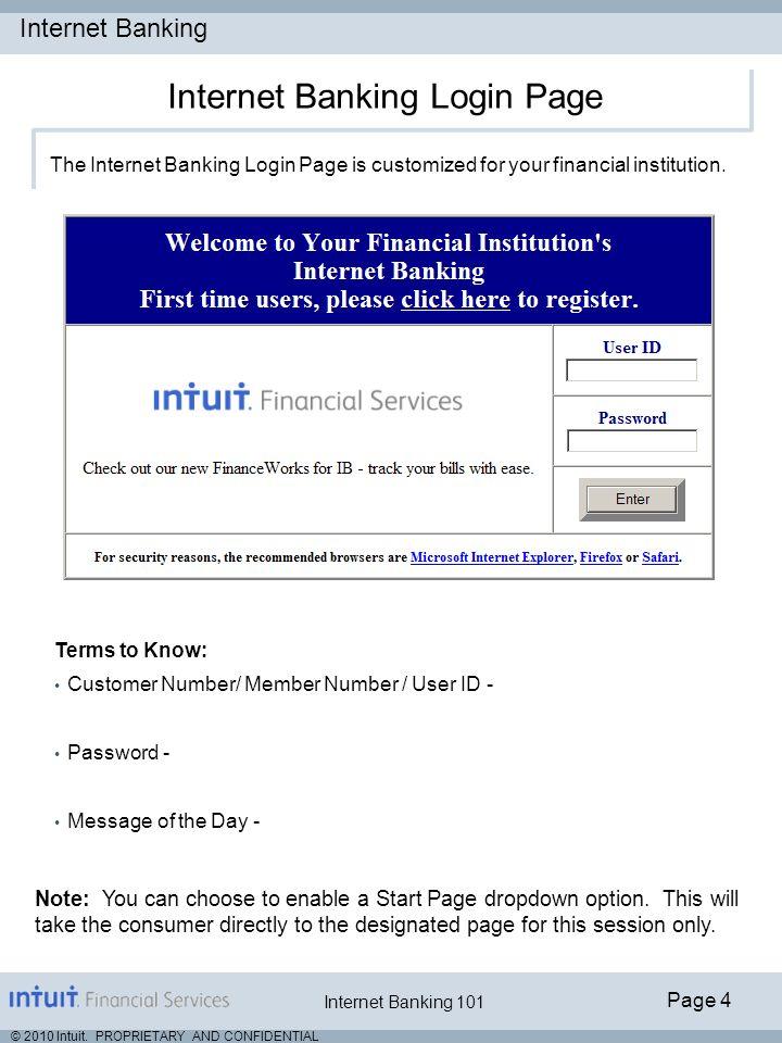 Internet Banking Login Page