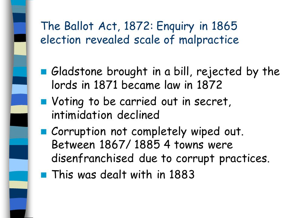The Ballot Act, 1872: Enquiry in 1865 election revealed scale of malpractice