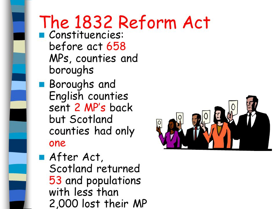 The 1832 Reform Act Constituencies: before act 658 MPs, counties and boroughs.