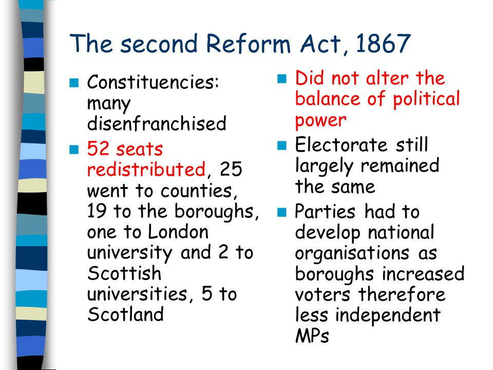 The second Reform Act, 1867 Did not alter the balance of political power. Electorate still largely remained the same.