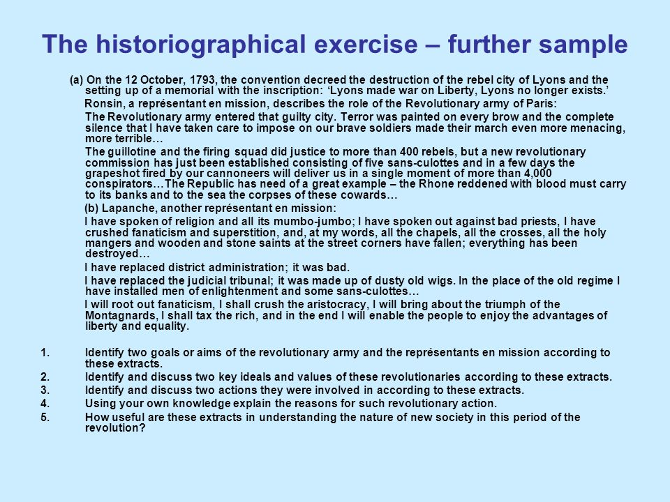 The historiographical exercise – further sample