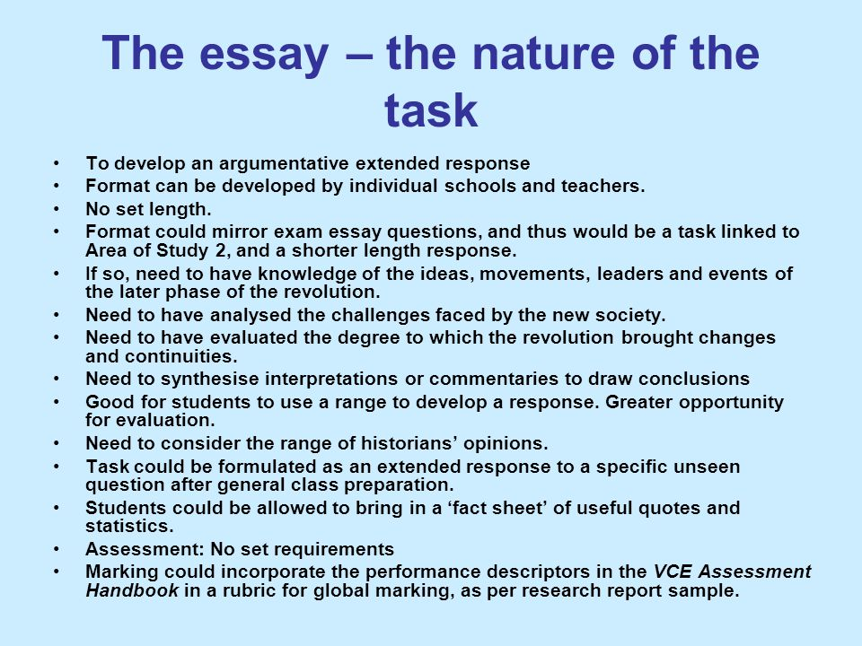 The essay – the nature of the task