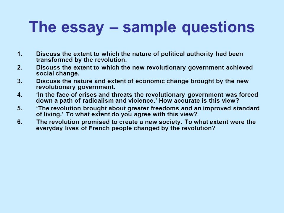 The essay – sample questions