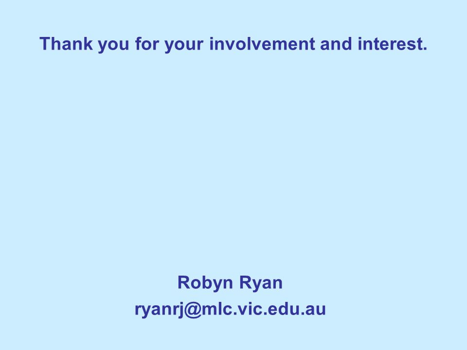 Thank you for your involvement and interest.