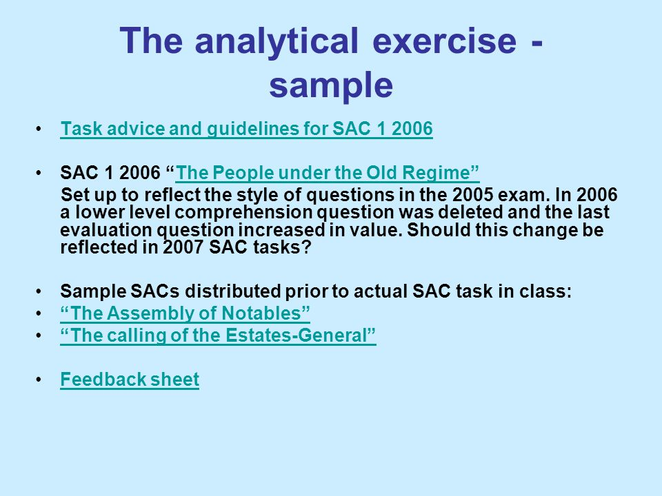 The analytical exercise - sample