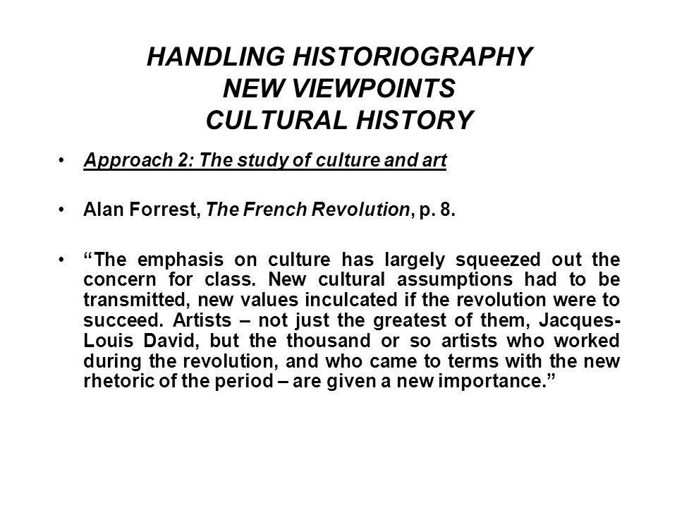 HANDLING HISTORIOGRAPHY NEW VIEWPOINTS CULTURAL HISTORY