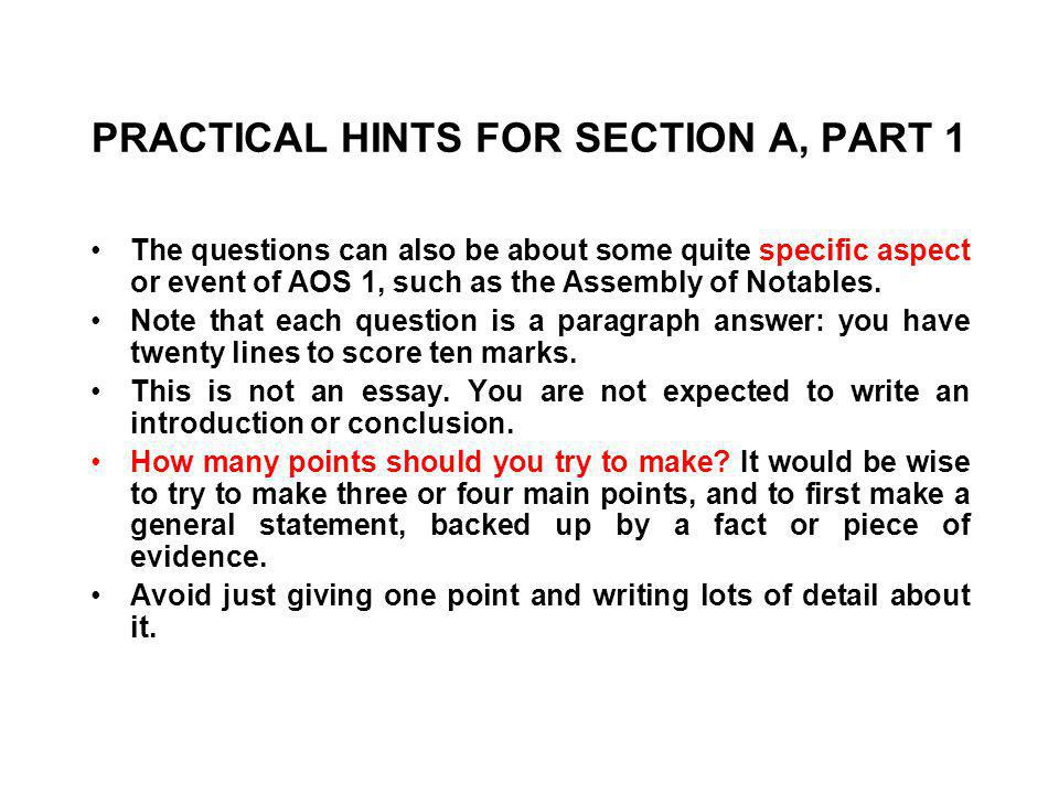 PRACTICAL HINTS FOR SECTION A, PART 1