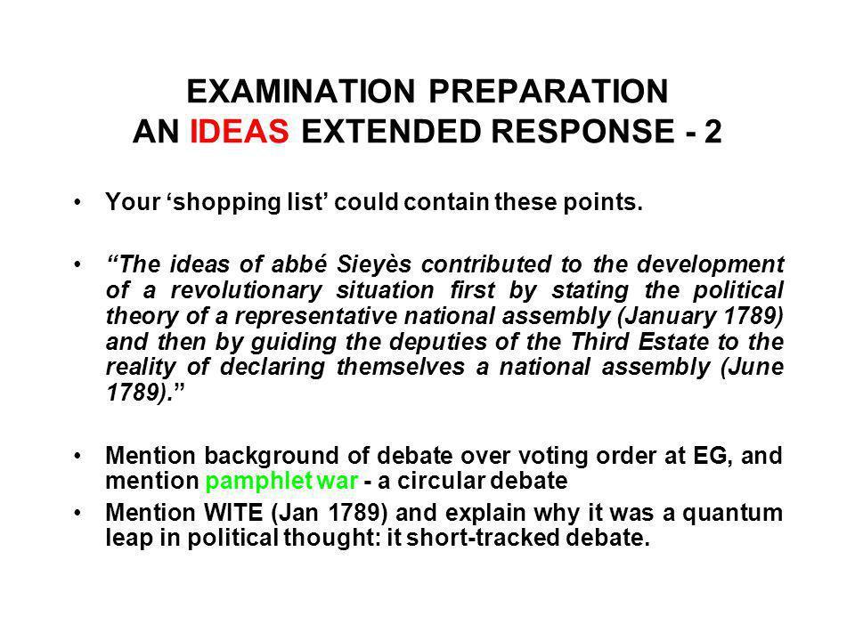 EXAMINATION PREPARATION AN IDEAS EXTENDED RESPONSE - 2