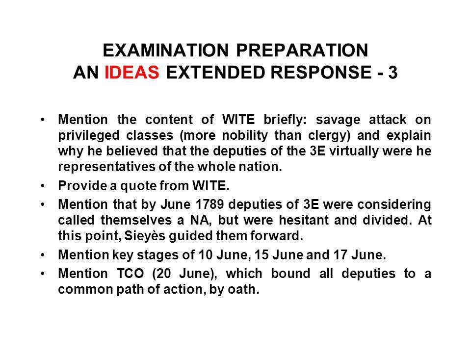 EXAMINATION PREPARATION AN IDEAS EXTENDED RESPONSE - 3