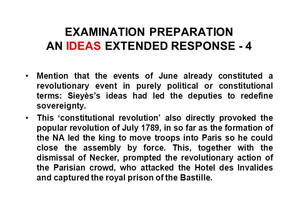 EXAMINATION PREPARATION AN IDEAS EXTENDED RESPONSE - 4