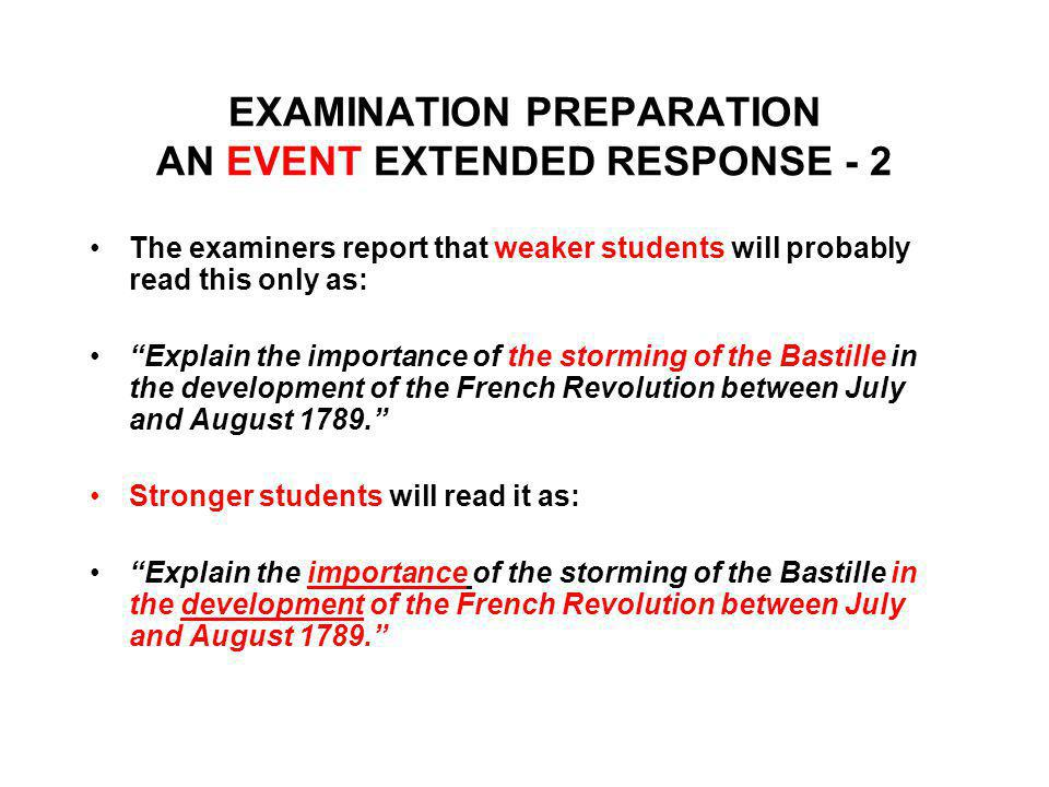 EXAMINATION PREPARATION AN EVENT EXTENDED RESPONSE - 2