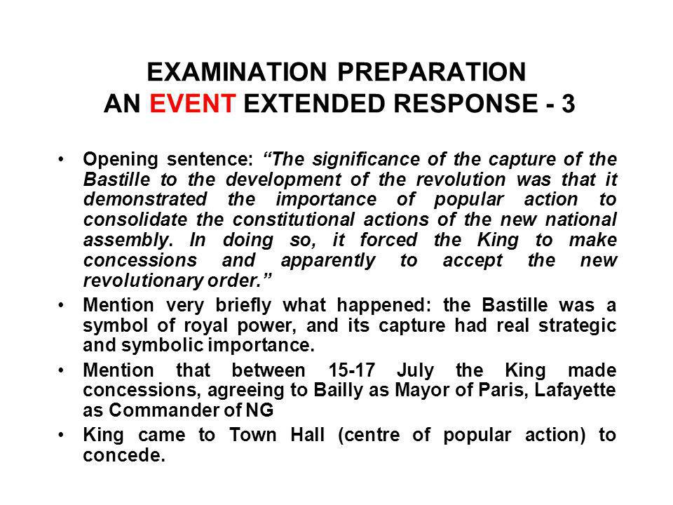 EXAMINATION PREPARATION AN EVENT EXTENDED RESPONSE - 3