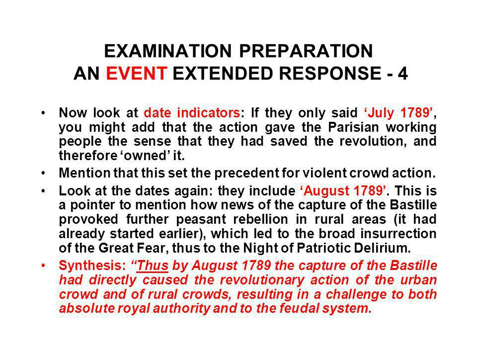 EXAMINATION PREPARATION AN EVENT EXTENDED RESPONSE - 4