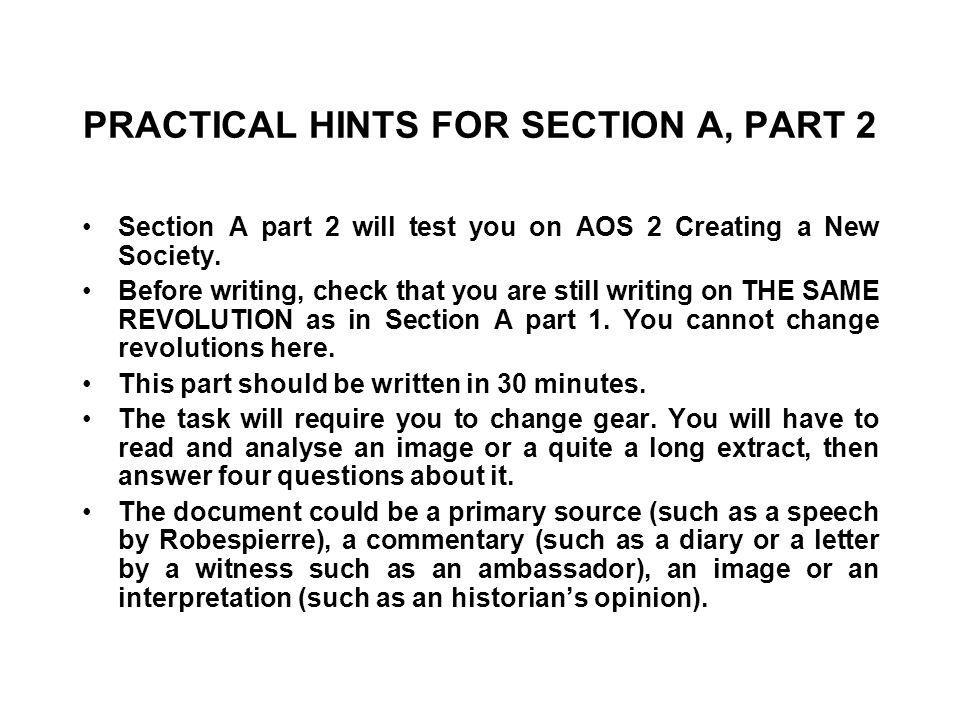 PRACTICAL HINTS FOR SECTION A, PART 2