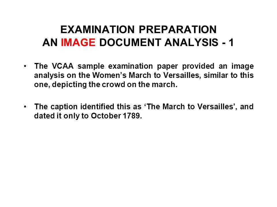 EXAMINATION PREPARATION AN IMAGE DOCUMENT ANALYSIS - 1