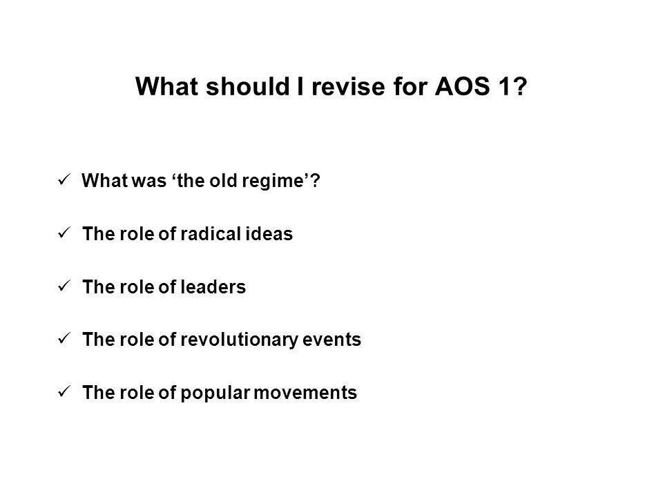What should I revise for AOS 1