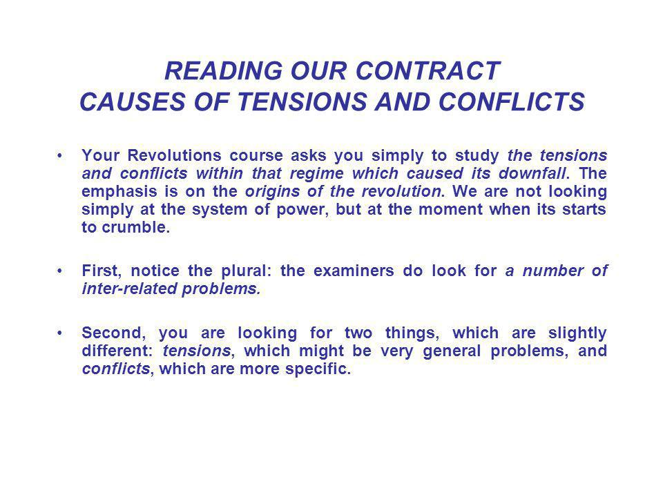 READING OUR CONTRACT CAUSES OF TENSIONS AND CONFLICTS