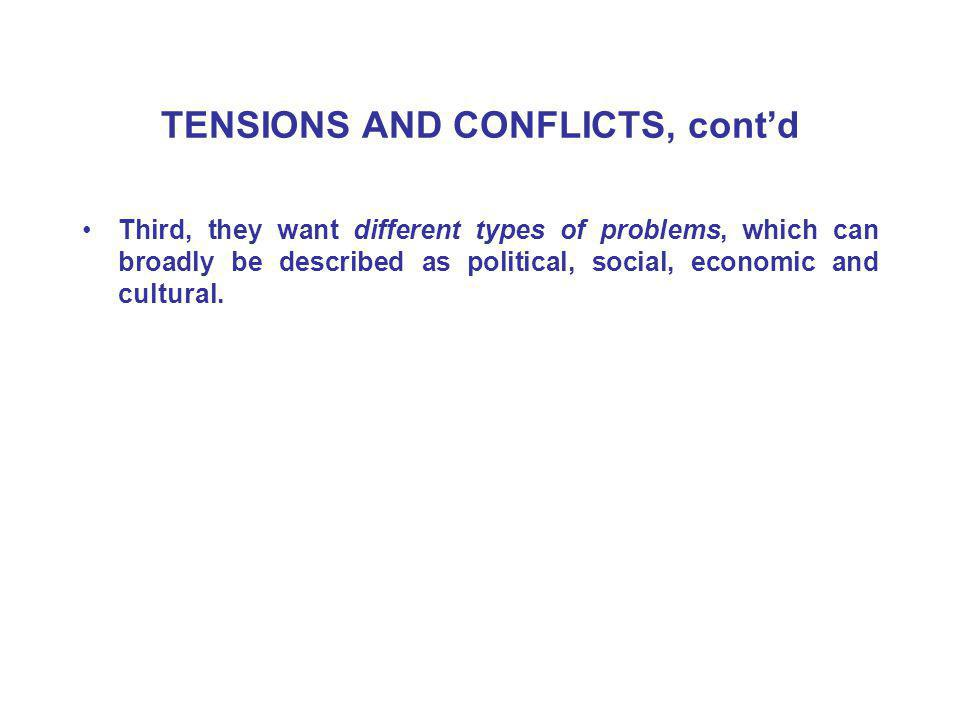 TENSIONS AND CONFLICTS, cont'd