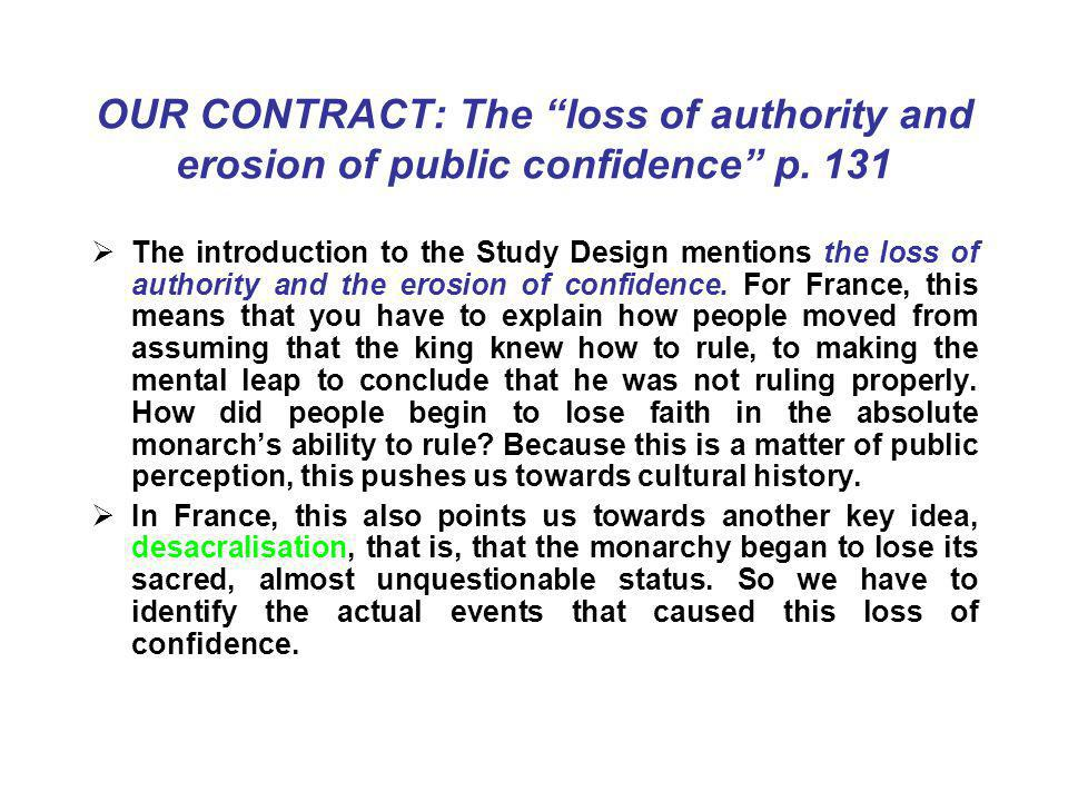 OUR CONTRACT: The loss of authority and erosion of public confidence p. 131