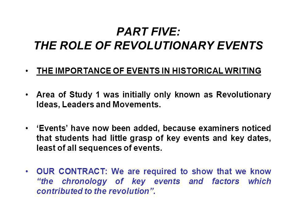 PART FIVE: THE ROLE OF REVOLUTIONARY EVENTS
