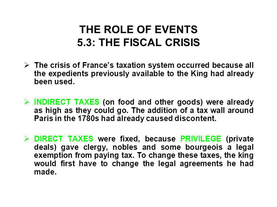 THE ROLE OF EVENTS 5.3: THE FISCAL CRISIS