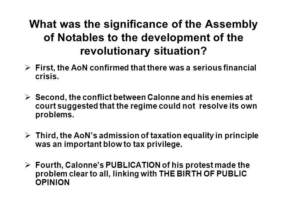 What was the significance of the Assembly of Notables to the development of the revolutionary situation
