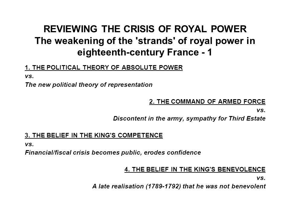 1. THE POLITICAL THEORY OF ABSOLUTE POWER vs.