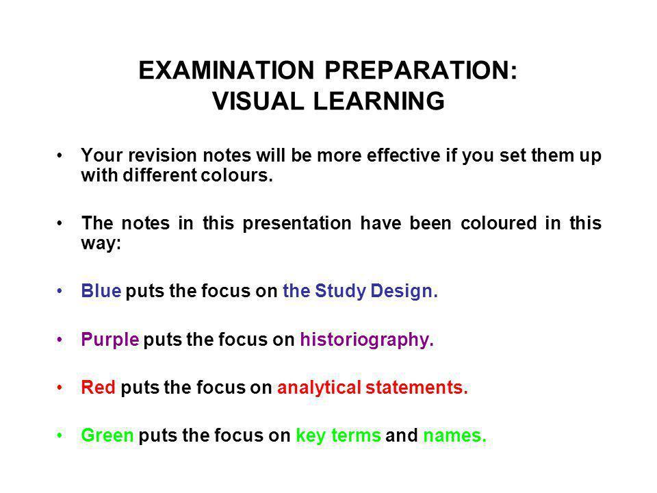 EXAMINATION PREPARATION: VISUAL LEARNING