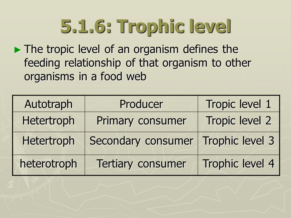 5.1.6: Trophic level The tropic level of an organism defines the feeding relationship of that organism to other organisms in a food web.