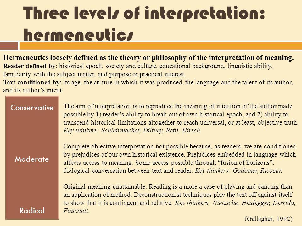 Three levels of interpretation: hermeneutics