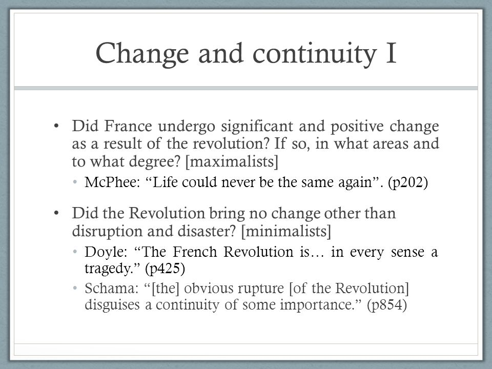 Change and continuity I
