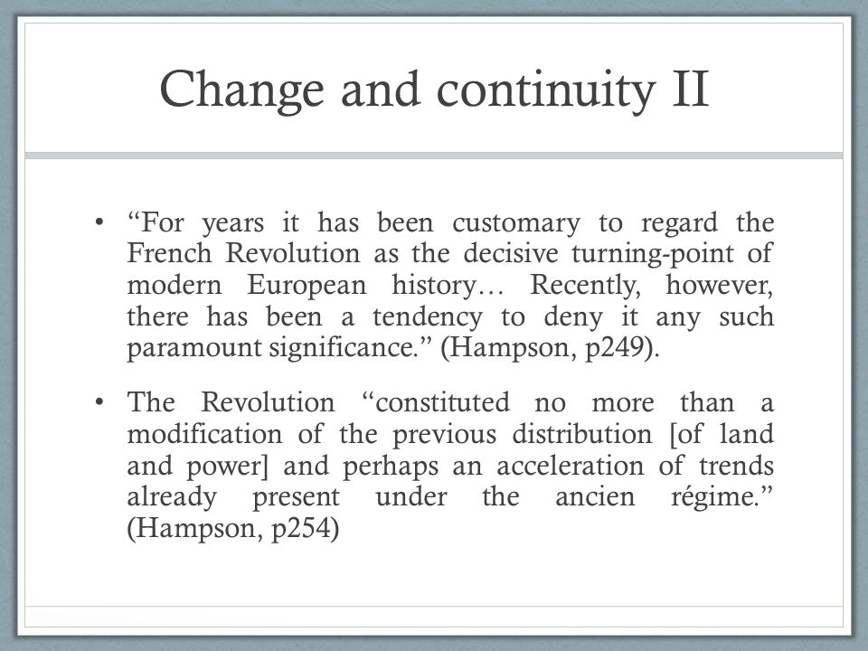Change and continuity II