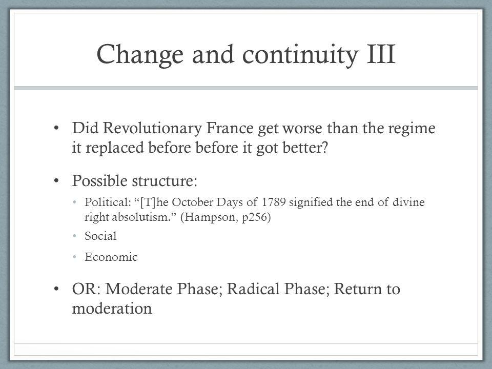 Change and continuity III