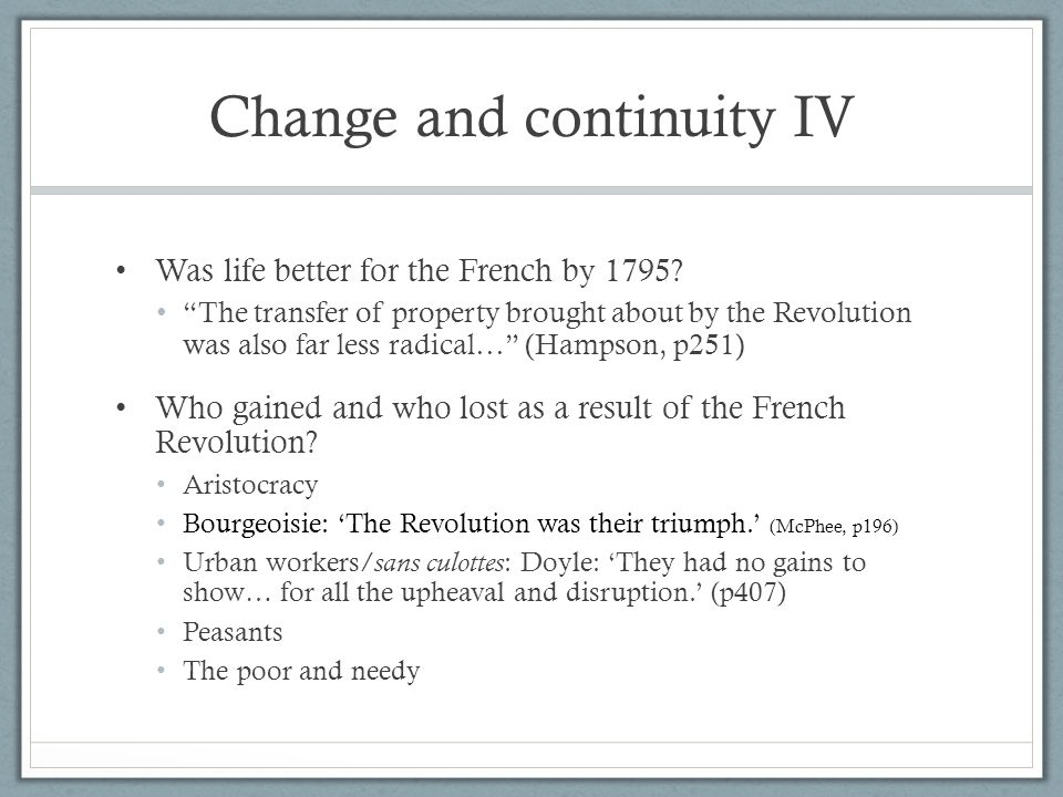 Change and continuity IV