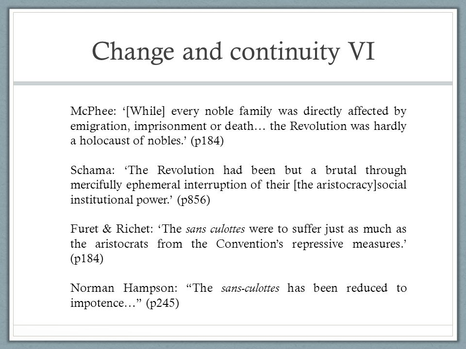 Change and continuity VI