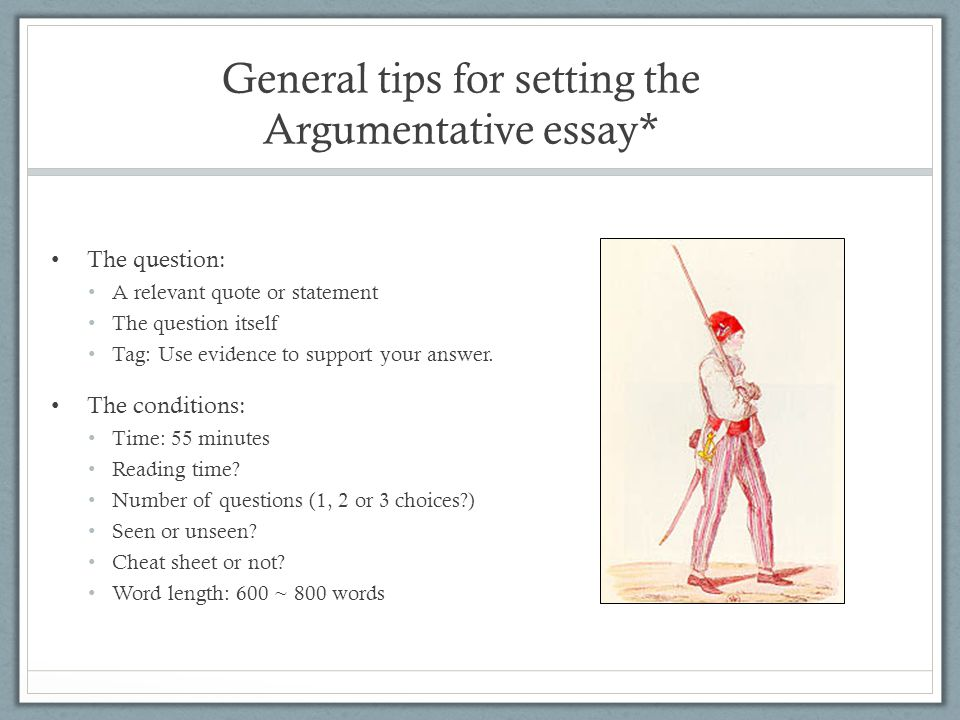General tips for setting the Argumentative essay*