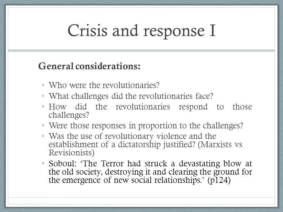 Crisis and response I General considerations: