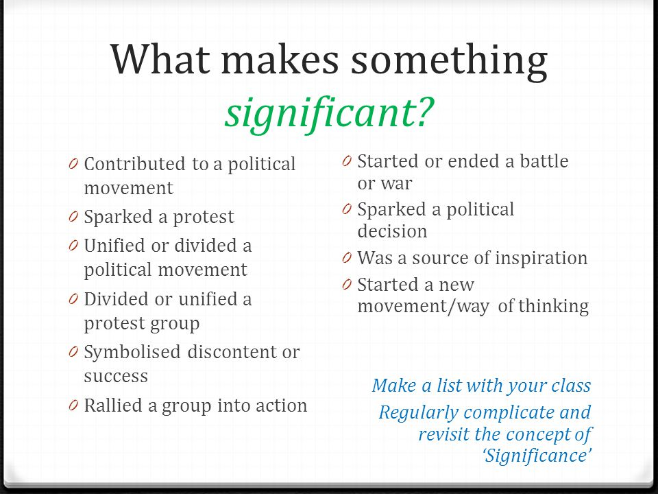 What makes something significant