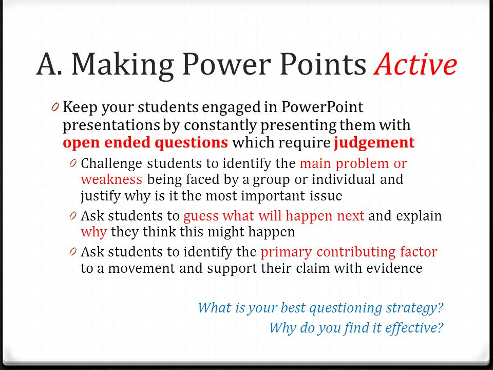 A. Making Power Points Active