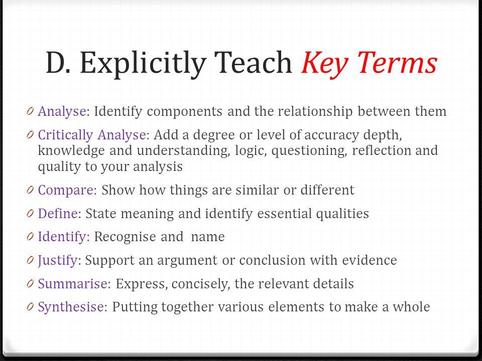 D. Explicitly Teach Key Terms