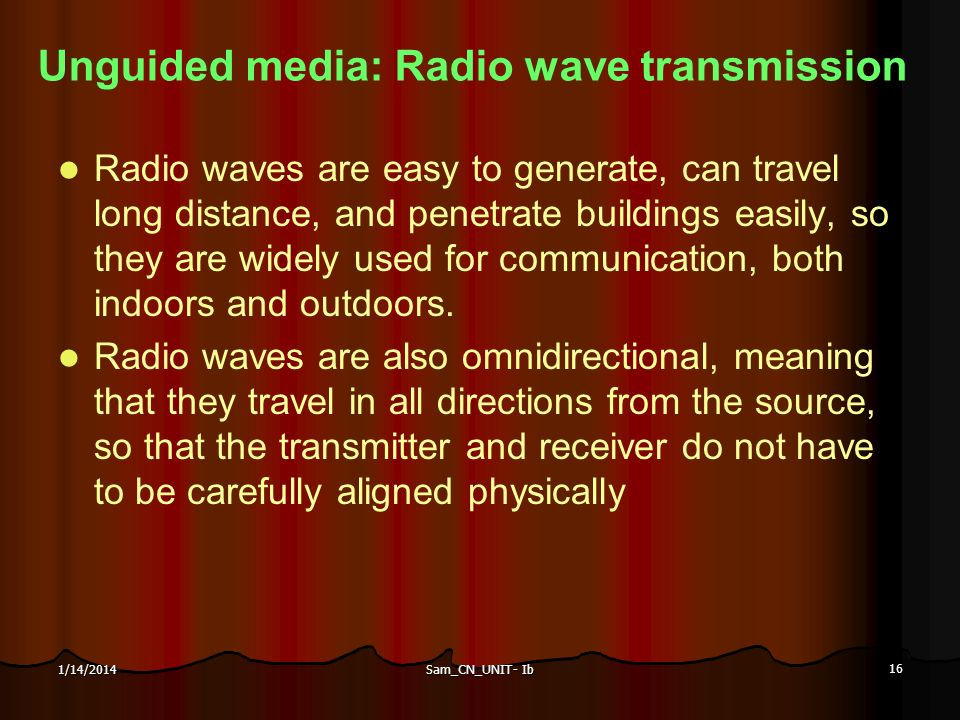 Unguided media: Radio wave transmission