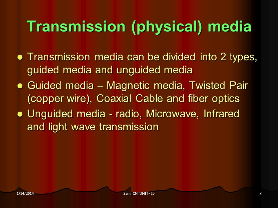 Transmission (physical) media