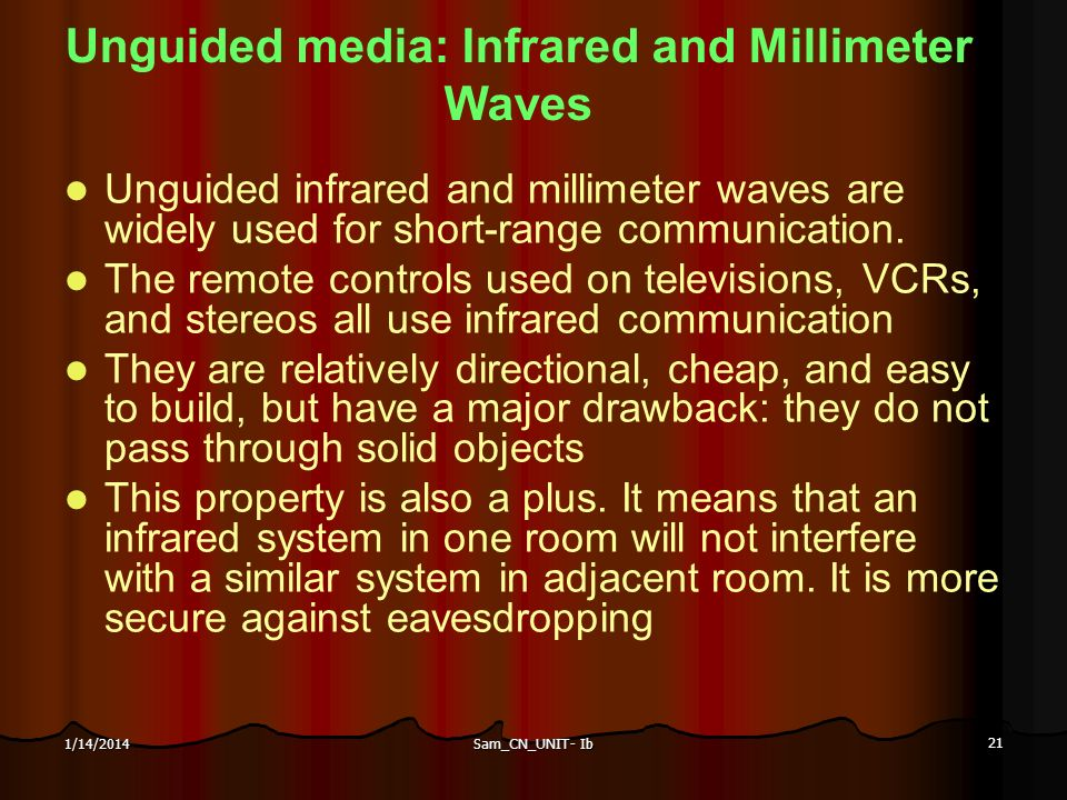 Unguided media: Infrared and Millimeter Waves