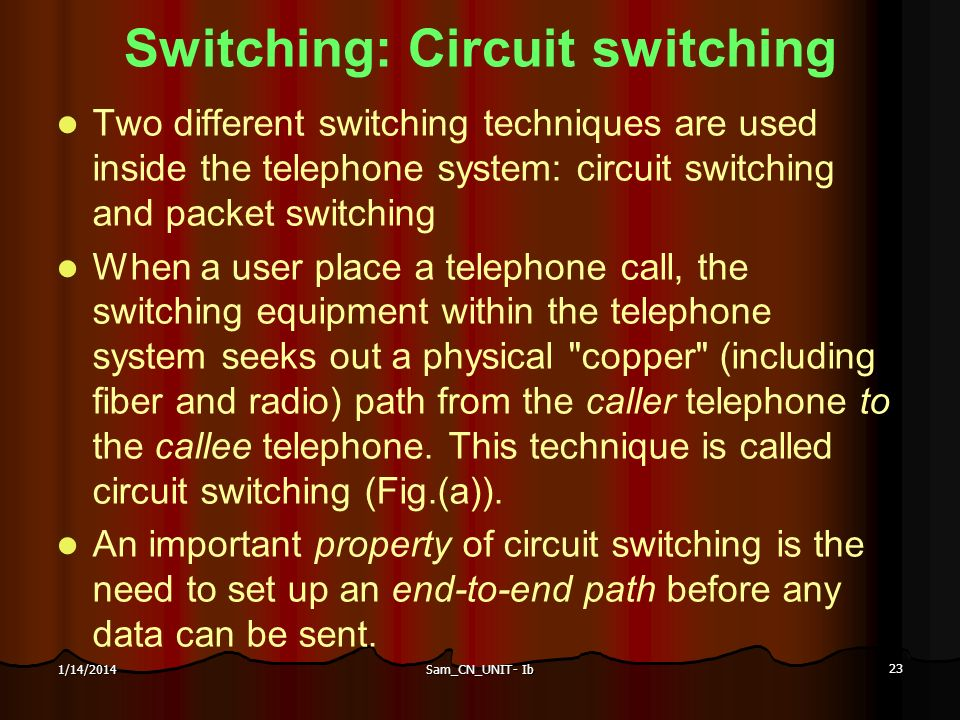 Switching: Circuit switching